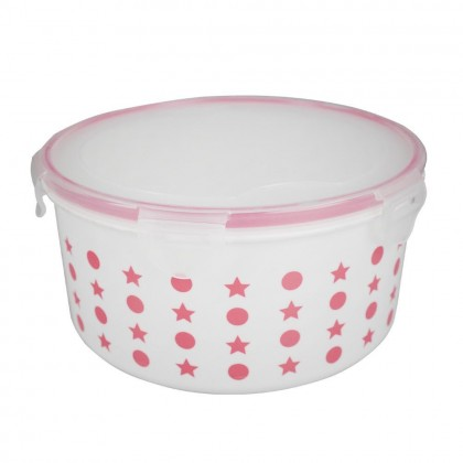 Set of 5 PP Food Container With Dotted Design and Clip Cover (Random Colour) - DT676