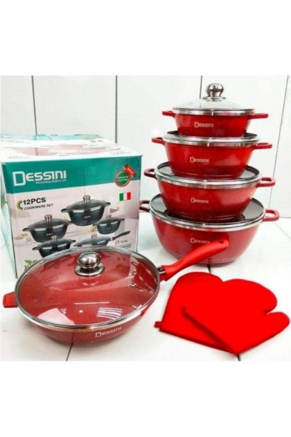 12PCS DESSINI COOKWARE GRANITE COATING - DT711