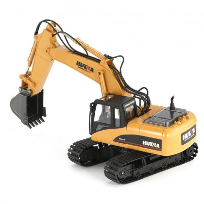 HuiNa 1550 RC Excavator Remote Control 15CH 2.4G 1:14 RC Metal Excavator With Battery RTR RC100