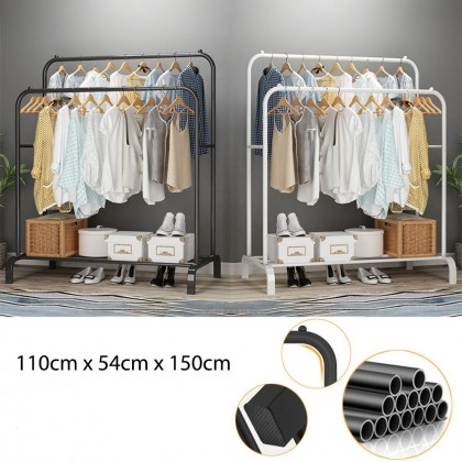 Double Pole Strong Steel Structure Laundry Rack Cloth Organizer Cloth Hanger 3kg - DT757