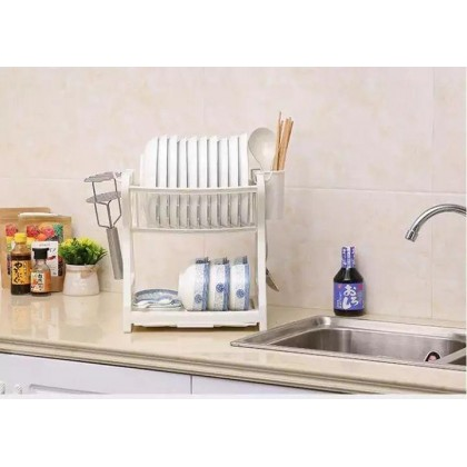 Multipurpose 2 Tier Layer Premium Plastic Dish Rack- DT762