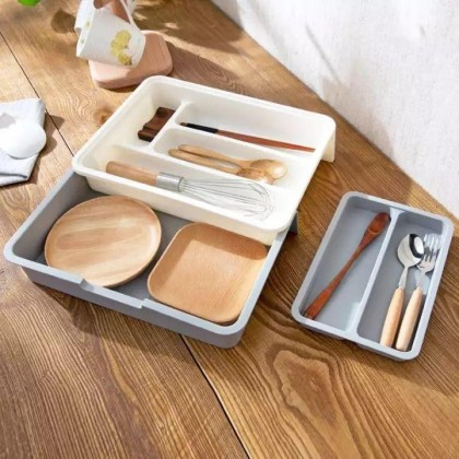Expandable Kitchen Cutlery Tray Organizer Drawer Store-DT791