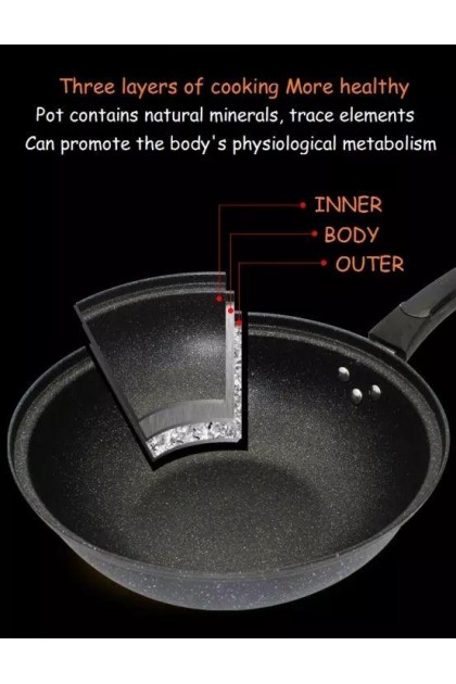 32cm Non-Stick Maifan Stone Coating Pan Frying Pan With Glass Lid-DT794