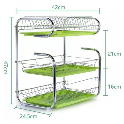 3 Layer Stainless Steels Drain Dishes Kitchen Storage Rack green - DT834