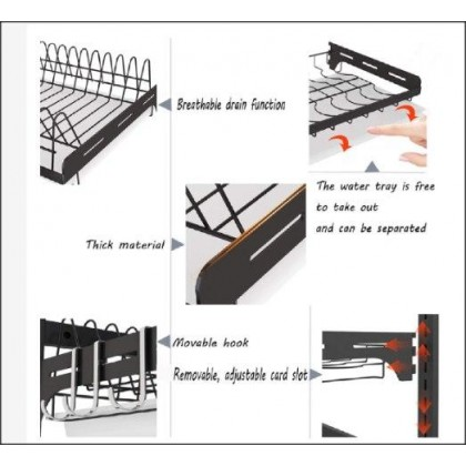 3 TIERS STAINLESS STEEL DISH DRAINER DISH DRYING RACK WITH TABLEWARE HOLDER KR026-DT839