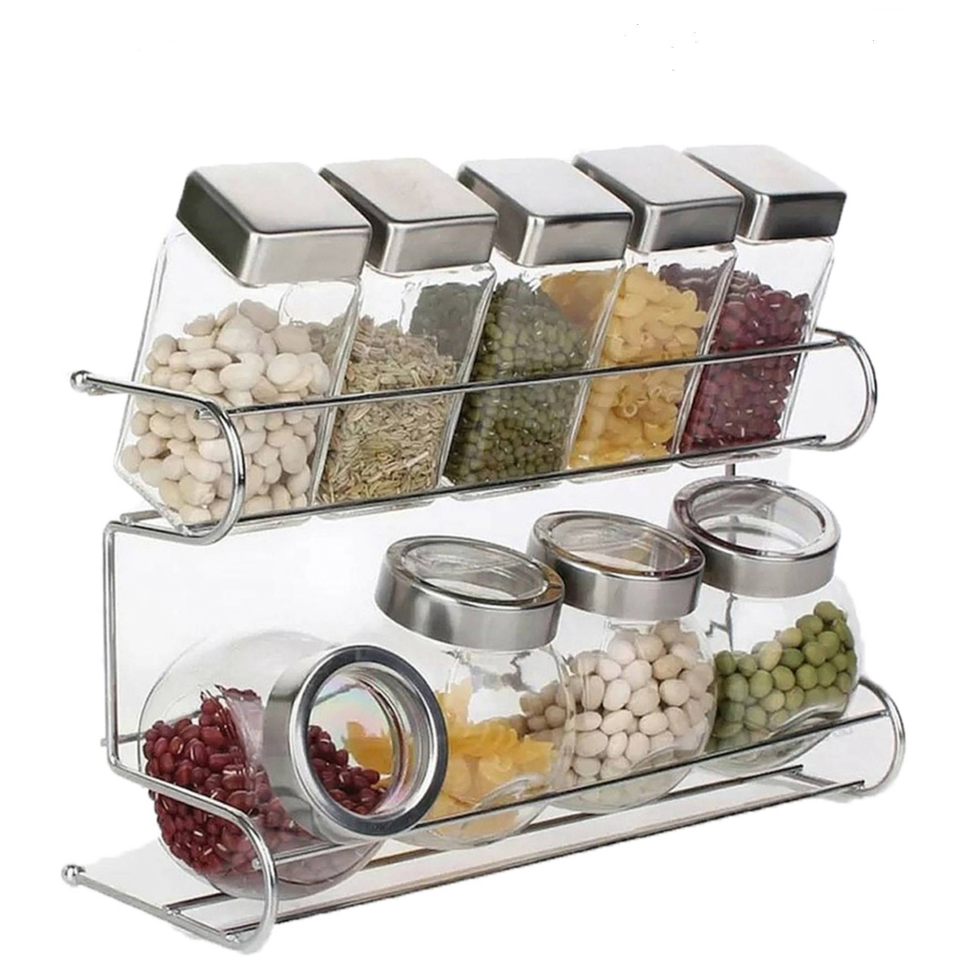 2 Tier Spice Rack With Cylindrizal Jars - DT887