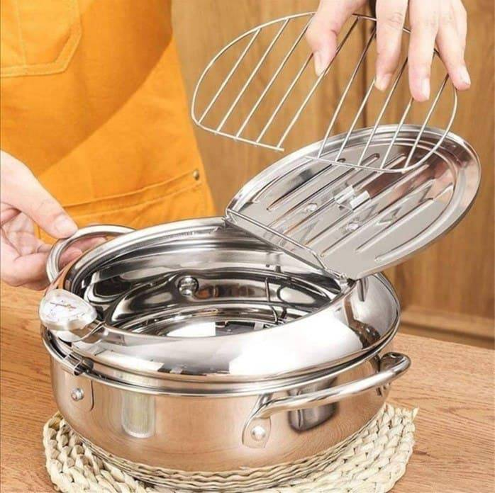 Stainless Steel Deep Frying Pan Japanese Tempura Fryer with Thermometer Control Non-Stick Frying Pan for Kitchen