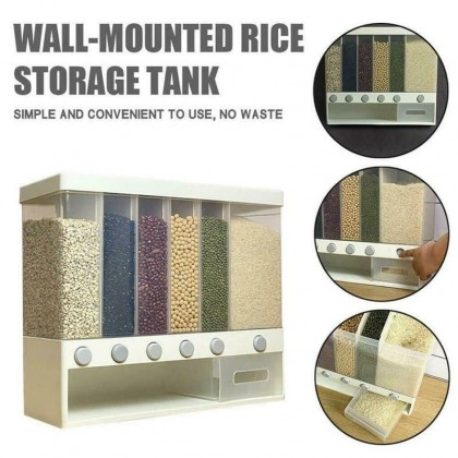 6 IN 1 KITCHEN WALL MOUNTED CEREAL DISPENSER DRY FOOD STORAGE CONTAINER ( 2KG )- DT1143