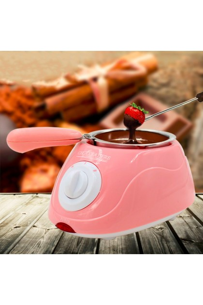 Chocolate Melting Pot Chocolate Fondue Yellow Color and Pink DT048
