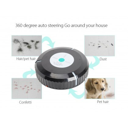 Robot Cleaner With Microfiber Tissue Remove Dust Black Color DT123