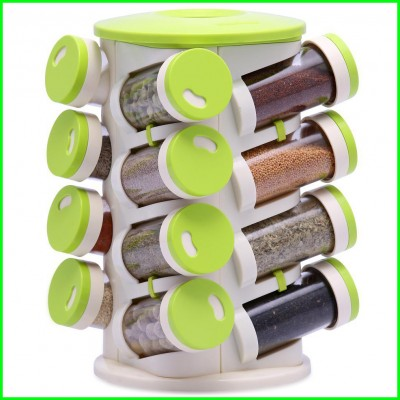 16 in 1 Spice Rack Cutlery Holder Rotating Condiments Jars Shelf Organizer DT313