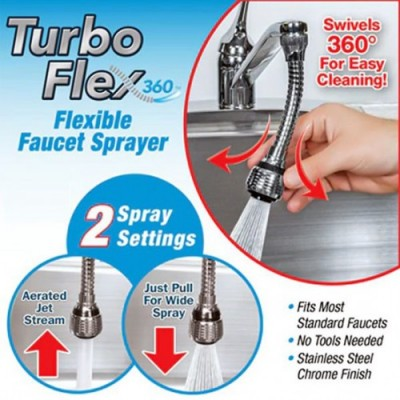 Turbo Flex 360 Sink Faucet Sprayer Jet Stream or Spray 6 inch DT314