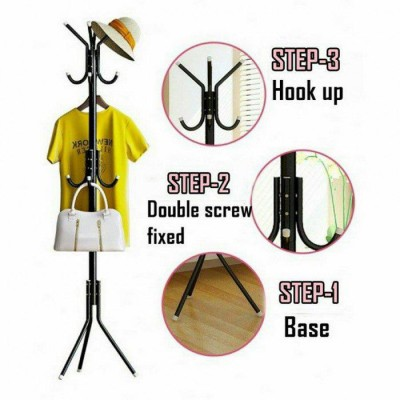 12 Hooks Hanging Pole for Hat Clothes Jacket Umbrella and Handbag - DT461