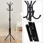 12 Hook Hanging Pole Rack Black - DT255