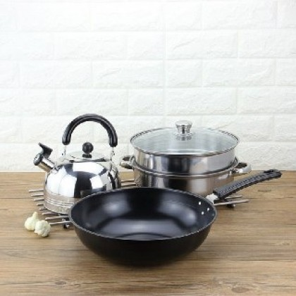 3 IN 1 Cookware Set Frying Pan, Stainless Steel Steamer & 3 Liter Whistle Kettle-DT506