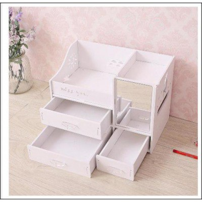 European Style Wooden Comestic Organizer With Drawer & Mirror-DT521