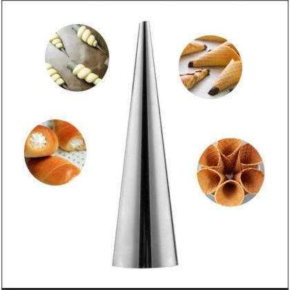 10Pcs/Set Stainless Steel Baking Pastry Cream Conical Tube Cone Roll Horn Mold - DT541