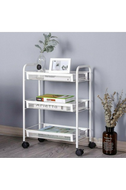 3 Tiers White Carbon Steel Basket Organizer Rack With Wheels (3kg) - DT567