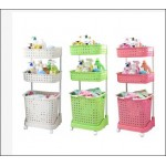 3 Tiers Large Capacity Laundry Basket Organizer With Wheels - DT533
