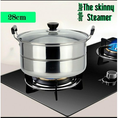 28cm Stainless Steel Single Layer Skinny Steamer Soup Steamboat Pot (1.2KG) - DT586