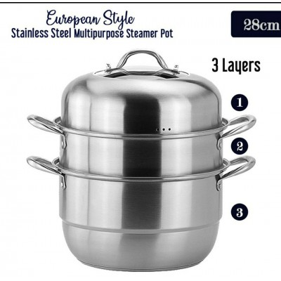 3 Layers European Style Multipurpose Stainless Steel Steamer Pot (2KG) - DT587