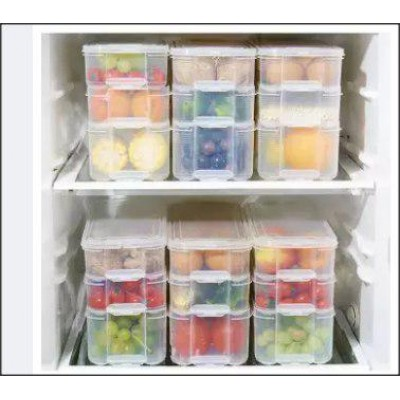 3 Layer Freezer Storage Box Stackable Plastic Storage Bins, Refrigerator Storage Box, Food Storage Containers with Lid For Kitchen Fridge Cabinet Freezer Desk Organizer (Set of 3) - DT622