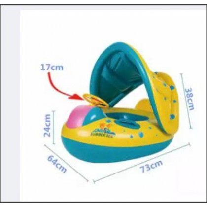 Inflatable Toddler Baby Kid Swim Ring Float Swimming Pool with Canopy (1KG) - DT636