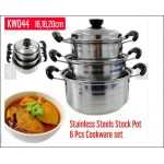 6pcs Set Stainless Steel Stock Pot Casserole Cookware - DT638
