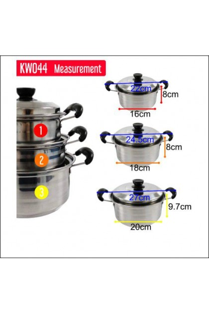 6pcs Set Stainless Steel Stock Pot Casserole Cookware - DT638