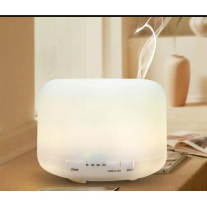 500ML Humidifier Ultrasonic Aroma 7 Colour Changeable Humidifier Purifier Diffuser No Noise Quiet Silent Light Diffuse Essential Oil (Malaysia 3 Pins Plug) (1kg) - DT657