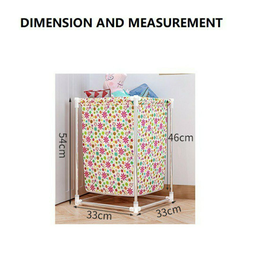 Large Capacity Laundry Basket With Steel And Washable Non Woven Fabric Basket (2kg) - DT565